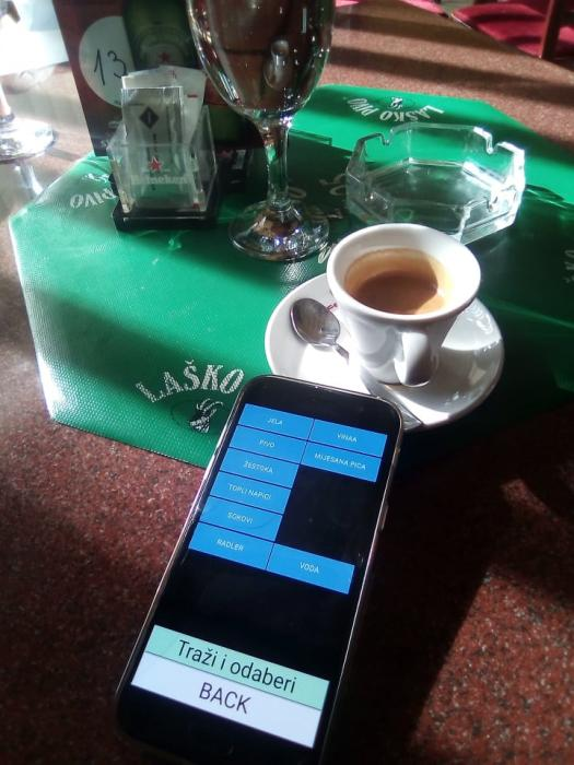 Naručivanje sa stolova za restorane i caffe barove, kafiće
